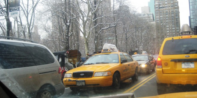 Central Park South at 3:30pm on Wednesday. An unwise crosstown route.