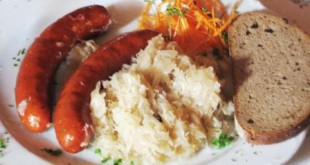 Bratwurst and sauerkraut.